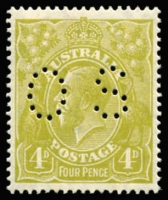 Lot 291:4d Greenish Olive Perf 'OS' BW #115b, excellent centring, MLH, Cat $450.