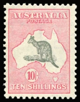 Lot 2036:10/- Grey & Pink BW #50A, fresh MUH, Cat $2,750. Ex Australia Post Archives.
