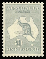 Lot 2037:£1 Grey BW #54, very well centred, fresh MUH, Cat $3,250. Ex Australia Post Archives.