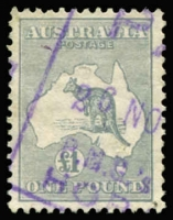 Lot 161:£1 Grey BW #54, excellent centring, Hobart boxed datestamp in violet, Cat $450.