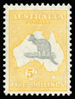 Lot 2035:5/- Grey & Yellow-Orange BW #46A, well centred, fresh MUH, Cat $1,500. Ex Australia Post Archives.