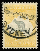 Lot 578 [2 of 2]:5/- & 10/- BW #46&50, 5/- well centred, Sydney datestamps, Cat $300+. (2)
