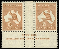 Lot 575:6d Chestnut Ash 'N' over 'N' imprint pair BW #23(3)za, mounted in central gutter only (just touching stamps), Cat $200.