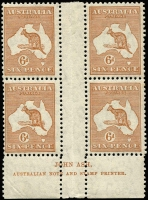 Lot 574:6d Chestnut Ash 'N' over 'N' imprint block of 4 with variety Hairline from value circle to map [3L54] BW #23(3)z, mild uniform gum toning, MUH, Cat $550+.