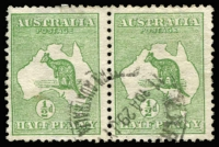 Lot 508:½d Green Watermark inverted BW #1a pair, cds cancel, Cat $150+.