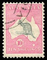 Lot 2010:10/- Grey & Pink with part-strike of Melbourne '24 of '[25AP13]