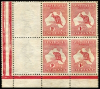 Lot 2002:1d Red corner block of 6, two units with forged Impressions removed and a third unit with forged Kangaroo with missing head, unused. Ex Dormer Legge (on portion of his original album page).