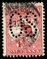 Lot 2003:1d Red Die I Perf Large 'OS' Watermark Sideways - crown pointing to left BW #2abba, used. RPSofV Certificate (2016). A new discovery .[ACSC states in relation to Sideways Wmk with official perfins 'There is no evidence for the existence of these', however it does record a single used Die II example Perf Large 'OS', valued at $2,000.]