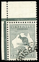 Lot 2005:2d Grey corner marginal example with Brisbane CTO cancel BW #5wd, full unmounted gum. Only 17 issued and grossly undercatalogued by Brusden White.