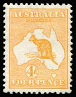 Lot 20:4d Orange BW #15A, MUH & scarce thus, Cat $1,000.