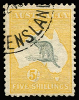 Lot 2009:5/- Grey & Yellow nibbed perf, Brisbance CTO datestamp, full unmounted gum, 120 issued, Cat $1,250.