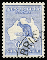 Lot 2006:6d Blue excellent centring, with Brisbane CTO datestamp BW #17wd, full unmounted gum. Just 44 issued, Cat $400.