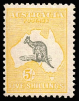 Lot 519:5/- Grey & Yellow variety White flaw off NSW coast BW #45(D)v, very fine mint, Cat $950.