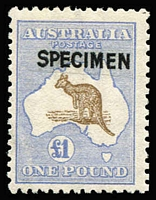 Lot 600:£1 Brown & Blue Optd 'SPECIMEN' Type B BW #52x, miniscule gum fault, otherwise fresh MUH and scarce thus, Cat $2,500.