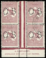 Lot 2026:2/- Maroon Perf 'OS' Mullett imprint block of 4 with two half strikes of Melbourne '10MY37' CTO datestamp BW #38bazbw, prepared for inclusion in collectors sets, without gum, Cat $2,500++.