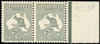 Lot 126:2d Grey Die I BW #7 marginal pair, mild gum toning, MUH, Cat $250+.