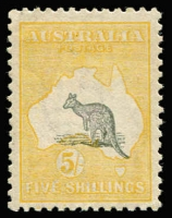 Lot 2028:5/- Grey & Pale Yellow variety Misplaced Kangaroo BW #44ca, quite a spectacular downwards displacement with Kangaroo's left foot and much of the foreground grass in the Bight, well centred, some mild uniform gum tone, fine mint overall, Cat $10,000.