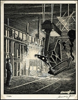 Lot 2089:1947 (C.) Engraver's Pen and Ink Line Drawing of Newcastle Steelworks (203x255mm) in black on thick card depicting an open hearth being charged with hot metal drawn by E R Murray Jones, an artist and engraver with the Note Printing Branch. Similar in design to the 3½d Newcastle 150th Anniversary issue of September 1947. Illustrated on page 6/172 of Brusden White. Superb and unique.