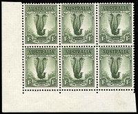 Lot 2098 [1 of 2]:1937-49 1/- Lyrebird No Watermark P15x14 corner block of 6, upper-left unit variety 'Green Mist' retouch [ShB L9/3] BW #210g, fine mint, lower units MUH, Cat $3,570. An extensive retouch which is rarely offered.