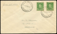 Lot 388:1941 1½d Green KGVI x2 tied to plain FDC by 'BULK POSTAGE/10DE41/BRISBANE.Q' datestamp, cover unopened, unusually fine. Rare wartime FDC, Cat $500.