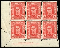Lot 2099:1942-50 2½d Scarlet KGVI Authority imprint corner block of 6 Partly imperforate at lower-left corner due to paper fold BW #230bb, MUH, Cat $2,250.