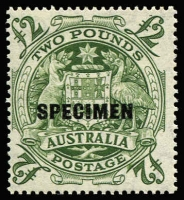 Lot 2104:1950-64 £2 Arms Optd 'SPECIMEN' variety Roller flaw below 'E' of 'POSTAGE', BW #271dx, fresh MUH, Cat $1,500.