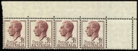 Lot 2103:1951-53 3½d Brown-Purple KGVI corner strip of 5 units with Misplaced perforations to the right by the width of one stamp resulting in void 5th unit. ACSC only records misplacements of 8-9mm (BW #253bb, Cat $500), whereas this example shows a full 20mm misplacement. Spectacular and rare item.