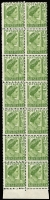 Lot 731:1951-62 2d Green Queen Mother lower marginal block of 14 (2x7) the left-hand column showing Double perforations both horizontally & vertically. Far more extreme than the example recorded in ACSC (as BW #248b) which states 'One sheet showing partial double perforations in the left-hand vertical column is known'. A new discovery, extrapolated Cat $1,575++.