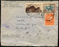 Lot 2307 [2 of 3]:1935-43 British Africa Airmail Covers comprising [1] Tanganyika 1935 (Mar 11) inwards from UK addressed to Dept of Police in Tabora, re-directed to Iringa, Tabora, Dodoma & Iringa backstamps; [2] KUT 1942 (Nov 16) 4/40c censored airmail cover to Argentina, 'N/156' censor label, Lagos transit & Buenos Aires arrival backstamp; [3] South Africa 1943 (Jan 8) cover to USA with 2/6d Ox-wagon plus 1/- & 6d War Effort tied by Port Elizabeth datestamps; condition variable. (3)