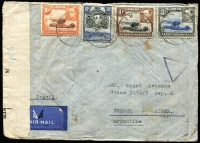 Lot 2307 [3 of 3]:1935-43 British Africa Airmail Covers comprising [1] Tanganyika 1935 (Mar 11) inwards from UK addressed to Dept of Police in Tabora, re-directed to Iringa, Tabora, Dodoma & Iringa backstamps; [2] KUT 1942 (Nov 16) 4/40c censored airmail cover to Argentina, 'N/156' censor label, Lagos transit & Buenos Aires arrival backstamp; [3] South Africa 1943 (Jan 8) cover to USA with 2/6d Ox-wagon plus 1/- & 6d War Effort tied by Port Elizabeth datestamps; condition variable. (3)