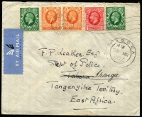 Lot 2307 [1 of 3]:1935-43 British Africa Airmail Covers comprising [1] Tanganyika 1935 (Mar 11) inwards from UK addressed to Dept of Police in Tabora, re-directed to Iringa, Tabora, Dodoma & Iringa backstamps; [2] KUT 1942 (Nov 16) 4/40c censored airmail cover to Argentina, 'N/156' censor label, Lagos transit & Buenos Aires arrival backstamp; [3] South Africa 1943 (Jan 8) cover to USA with 2/6d Ox-wagon plus 1/- & 6d War Effort tied by Port Elizabeth datestamps; condition variable. (3)