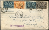 Lot 2392:1942 (Aug 17) late use of 1897 Jubilee 1c, 5c x2 & 8c on Special Delivery cover from Midland (Ontario) to USA, Chicago backstamps.