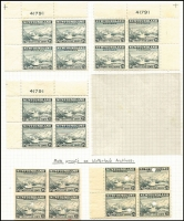 Lot 1255 [2 of 2]:1941-44 Definitive Issue 25c Sealing Fleet Waterlow printing SG #288 selection comprising Plate #41791 corner blocks of 4 from three different corners, plus block of 6 from centre-left with part number; also imperforate and perforate blocks of 4 with Waterlow archives security punch, the former with printer's mark in red; some units MUH, Unitrade Cat C$400++. (6 items)