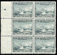 Lot 1255 [1 of 2]:1941-44 Definitive Issue 25c Sealing Fleet Waterlow printing SG #288 selection comprising Plate #41791 corner blocks of 4 from three different corners, plus block of 6 from centre-left with part number; also imperforate and perforate blocks of 4 with Waterlow archives security punch, the former with printer's mark in red; some units MUH, Unitrade Cat C$400++. (6 items)