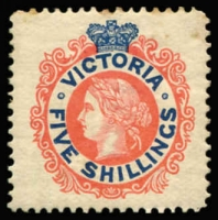 Lot 2301 [3 of 5]:Miscellany with [1] Australia 1950 Australian National Philatelic Exhibition cinderellas imperforate pairs in blue or in purple-brown; [2] Victoria 1901 5/- pale red & deep blue SG #383 mint, some toning; [3] Batum 1920 50r on 15k reference forgery used (Cat £1,100 when genuine); Germany 1855 pre-stamp entire from Berlin to Bordeaux; [6] Stellaland 1884 3d Arms used, central thin, expertised on reverse (Cat £375); [6] Poland 1960s-70s flight covers x6. (12 )