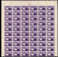 Lot 80 [1 of 3]:South-West Africa & South Africa 1930s-50s sheets, part-sheets or blocks including SWA listed varieties 1947 Royal Visit 2d Bird on '2' x3 in sheets of 120, 3d Black-eyed Princess x3 in sheets of 120, 1949 3d UPU part sheet of 116 (4 stamps missing) with Lake in East Africa & Serif on 'C'; South Africa 1945 1d Victory sheet of 120 with Barbed wire flaw; mostly MUH, a few items with per favour cancels, condition variable. (Many 100s)