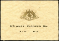 Lot 2303:Australia WWII: 'AUST. PIONEER BN/A.I.F. M.E.' (Egypt) Christmas card containing insert with message from Robert Menzies, fine condition.