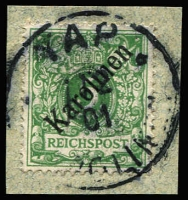 Lot 1345:1899-1900 48° Overprints 5pf opal-green Mi #2I, tied to small piece by 1901 Yap datestamp, Lantelme guarantee handstamp, Cat €750.