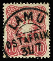 Lot 1377:1888-91 Forerunners German 10pf deep rose-red Shield with fine Lamu datestamp Mi #VL41, fine used, Cat €500.