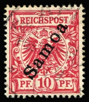 Lot 1353:1900-01 Overprints 10pf dark red Mi #3b, fine used, Jaschke guarantee handstamp, Cat €250.