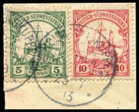 Lot 1312 [1 of 2]:Postmark Selection On Yacht Issues including Gochas, Gobabis, Karibib, Kuibis, Kolmannskuppe (complete strike tying 5pf & 10pf to piece), Okahanda, Seeis, Usakos, Waldau, etc, variable quality of postmark strikes, stamps generally fine. (42)