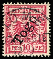 Lot 1357 [1 of 2]:1897 Overprints on Germany 3pf to 50pf set Mi #1-6, including 3pf shades #1a&b & 10pf shades 3b & 3d (lilac-rose with Jaschke-Lantelme Certificate) some with expertising handstamps, five of the stamps are tied to piece, fine/very fine, Cat €740. (8)