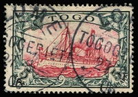 Lot 1358:1900-19 Yachts 3pf to 5m set Mi #7-19,10pf crayon marks on reverse, 50pf on small piece, fine used, 2m to 5m fine/very fine with guarantee handstamps, Cat €1,000. (13)
