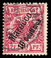 Lot 1332:1899 Diagonal Surcharges 10c on 10pf deep red-carmine Mi #3c, fine used, Jaschke guarantee handstamp, Cat €260.