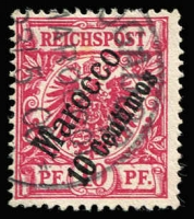Lot 1369:1899 Surcharges 10c on 10pf deep red-carmine Mi #3c, fine used, Jaschke guarantee handstamp, Cat €260.