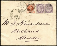 Lot 1417 [1 of 2]:1888 (Jan 3) cover London to Sweden franked with QV ½d and 1d pair, used from the London Commission, reverse showing 'MELBOURNE 1888 CENTENARY/EXHIBITION' coat-of-arms in mauve on flap, together with Swedish TPO cancel.