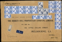Lot 2222:1948 £1 Silver Wedding block of 3 (cancellation ties one unit at right) and 2½d x24 remarkable franking on large (370x250mm) registered cover from BHP London to Melbourne office, the 65/- aggregate representing 1/3d per ½oz airmail rate x52, the 3d registration fee apparently overlooked. Relatively minor handling blemishes for an article of these proportions. Very few commercial covers are recorded bearing the £1 value.