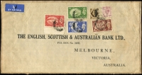 Lot 2223:1952 2/6d to £1 Festival High Values (plus 6d & 1/- Definitives) tied to 1952 (Aug 9) English, Scottish & Australian Bank Ltd (Melbourne) address label affixed to portion of parcel-wrapping, the aggregate 39/- franking representing 1/6d ½oz airmail rate x26. £1 being rare on commercial postal articles, especially as part of the complete set.