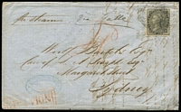 "Lot 2224 [1 of 2]:1859 (Mar 22) Reme & Co (Singapore) entire to Sydney with 4a black tied by lightly struck 'B/172' cancel, rated ""4d"" with 'INDIA PAID' boxed handstamp in red at lower-left, on reverse Singapore PO '22/MAR/1859' datestamp in red & 'SHIP-LETTER/B/MY4/1859/SYDNEY' arrival datestamp in black. Fine condition."