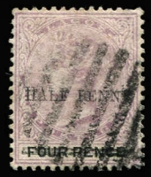 Lot 2400:1893 Surchages ½d on 4d dull mauve & black variety Surcharge double, SG #42a, used, Cat £55.